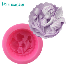3D Large Angel Baby Kisses Flower Earth Shape Sugar Food Grade Silicone Soap Mold Chocolate Sugar Craft Jello Jelly MJ-00944 цена
