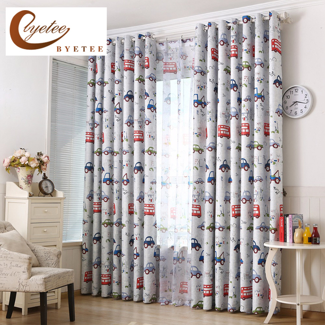 [byetee] Cars Bedroom Blackout Kitchen Curtains For Children Living Kids  Door Curtain Baby Room Window Boy Curtain Shade Drapes