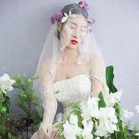 New Bride Wedding Veil Simulated Pearl Korean Fashion Short Veils White Tulle Cut Edge Photography Women Vail Handmade