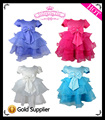 2013 New Free Shipping three ruffle with big bow children girl princess dress , formal ball gowns for children