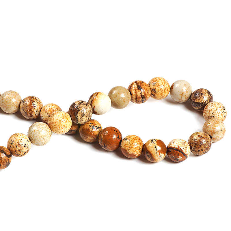 TopGoods ขายส่งธรรมชาติ Jasper Stone สีน้ำตาลลูกปัดแบบหลวมสำหรับเครื่องประดับทำสร้อยข้อมือ Pick ขนาด 4 6 8 10 มิลลิเมตร