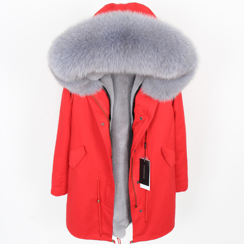 MaoMaoKongNatural Fox Large Fur Collar Park High quality faux fur lined with warm winter jackets