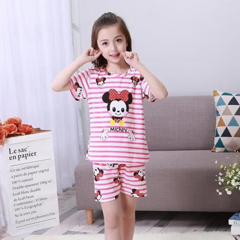 все цены на New Listing 2017 Children Clothing Summer Children boys girls kids Clothing Sets Cartoon suit Sleepwear Short Sleeve Cartoon Kid