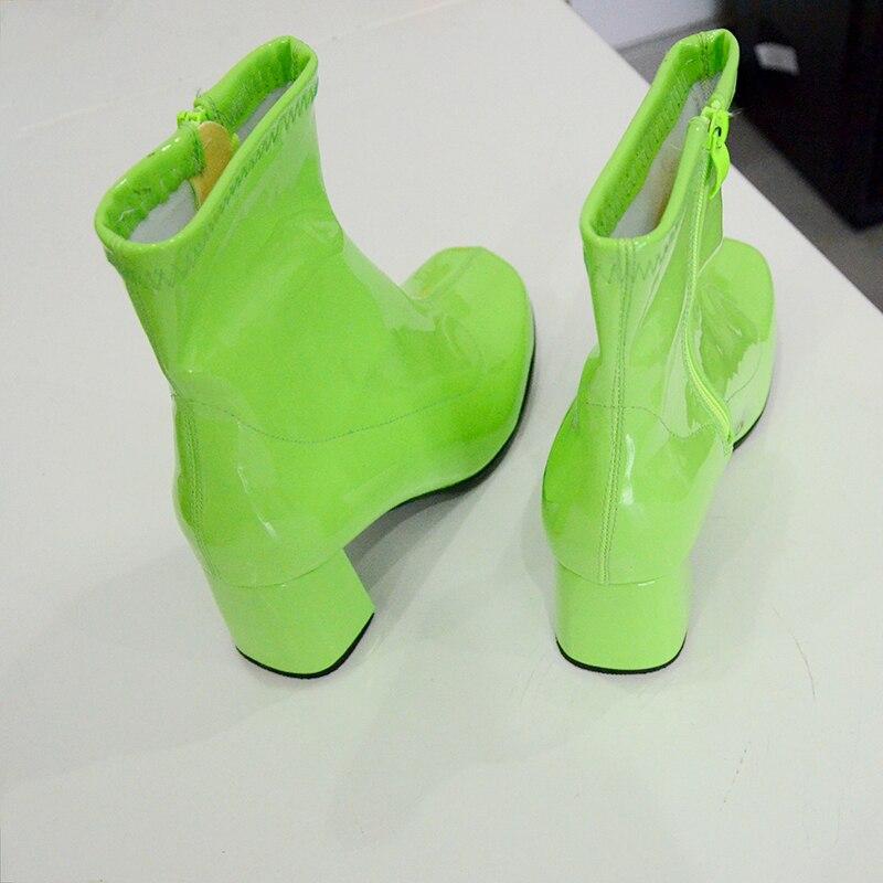 รองเท้าผู้หญิงรองเท้าแฟชั่นส้นสูงข้อเท้ารองเท้าส้นสีขาวสีเขียวสิทธิบัตรรองเท้าผู้หญิงหนังซิปสแควร์ Toe Jelly รองเท้า-ใน รองเท้าบูทหุ้มข้อ จาก รองเท้า บน   3