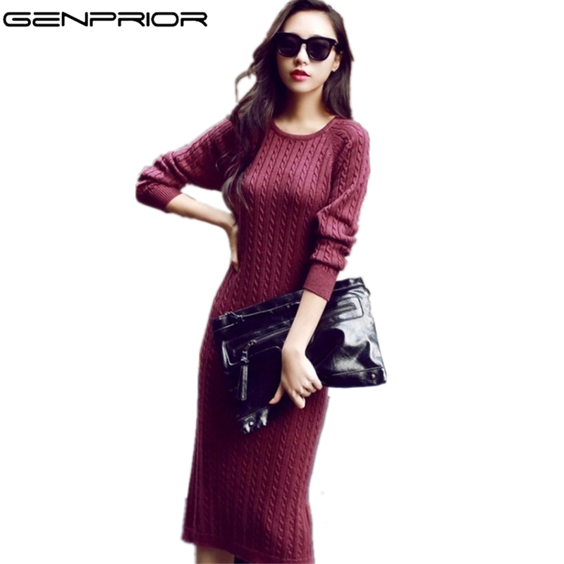 GENPRIOR New Women Autumn Winter Warm Pullover Knitted Dress Vestidos Large Size Long Sleeve Slim Sheath Women Sweater Dress