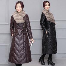 Women Lamb Wool Faux Mink Leather Jacket Coat Down Top Coat Winter Warm Outwear Plus Size M-5XL Belt Turn-down Collar MY0057