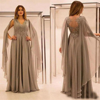 2019 Elegant Flowers Lace Mother of the Bride Dresses A line V Neck Cap Sleeve Full Length Lace Wedding GuessMother Of The Groom