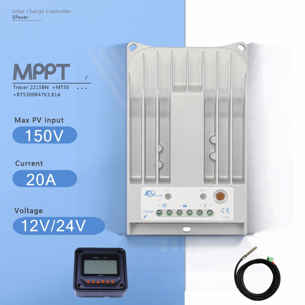 Tracer 2215BN MPPT 20A Solar Battery Charge Controller 12V24V Auto Solar Charge Regulater with MT50 Meter and Temperature Sensor 20a solar controller 12v24v light control time automatically identify street charge