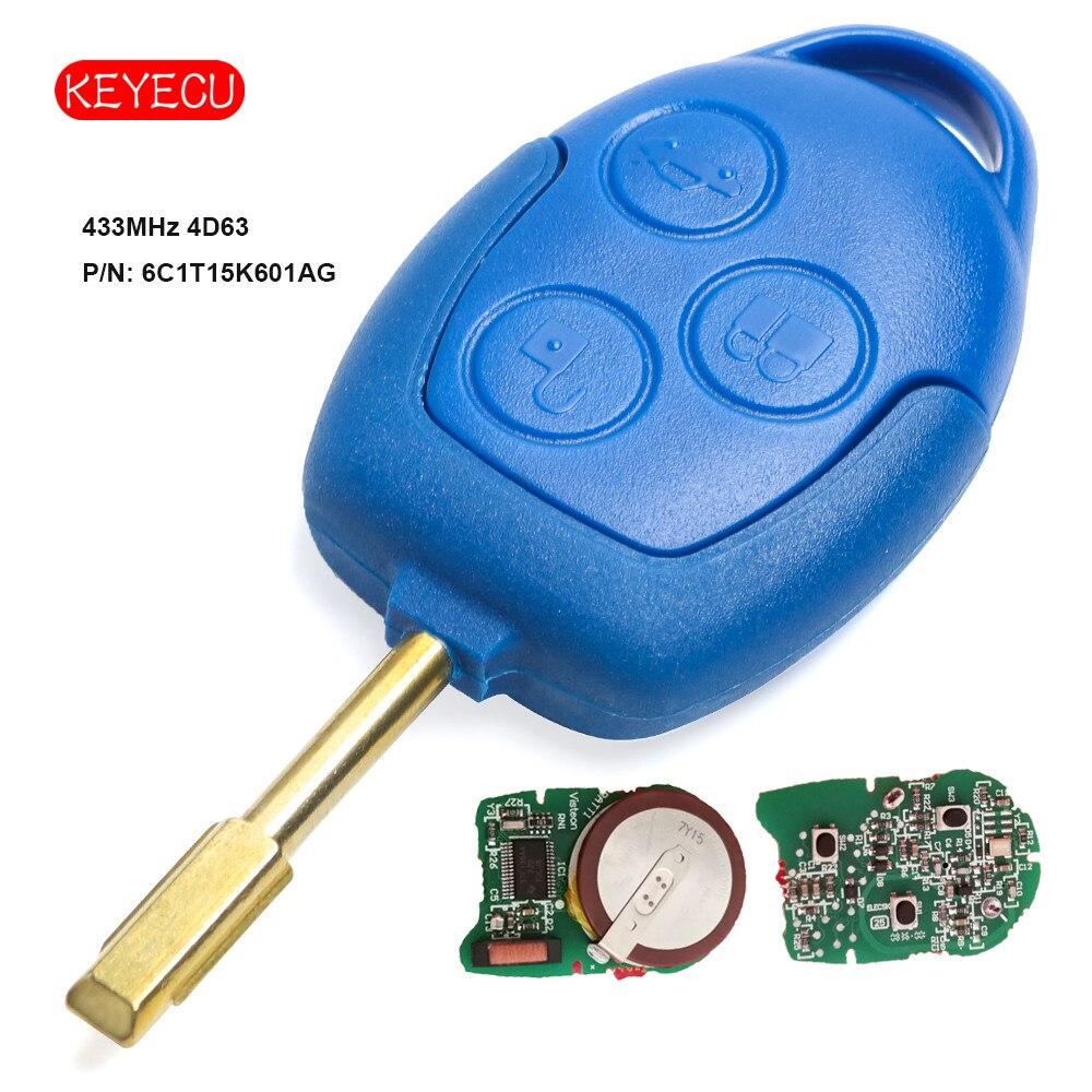 Keyecu Remote Key FOB 3 Taste 433 mhz 4D63 Chip für Ford Transit WM VM 2006-2014 p/ n: 6C1T15K601AG FO21