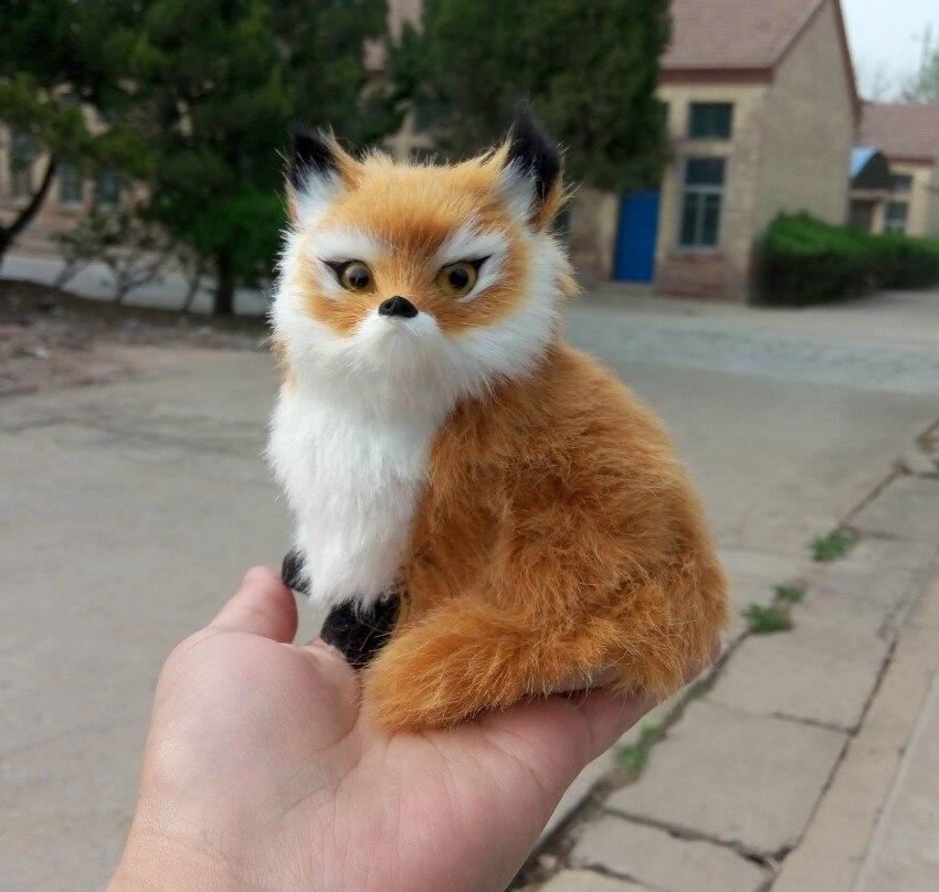 Simulation yellow fox toy polyethylene furs fox model funny gift about 10 10 14CM