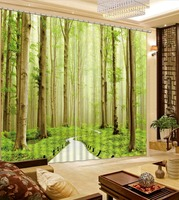 Photo Customize Size Fashion Customized Green Forest Exterior House Decor 3d Curtains