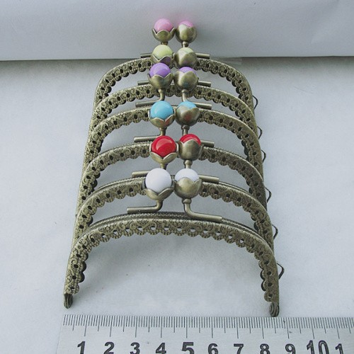 Wholesale 8.5CM Coining Pattern Coin Purse Frames,6 Colors Lotus Candy Head Bag Kiss Clasp Purse Cluth DIY Bag Metal Accessories