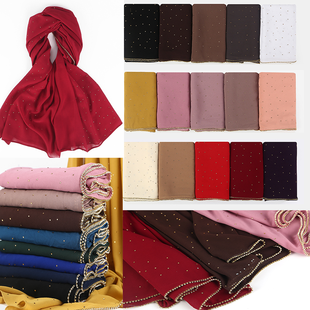 1 pc New Arrival plain bling bubble chiffon hijab scarf shimmer with crystal chain edged scarf