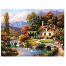 Diamond embroidery Mountain Houses  painting square drill rhinestone pasted full Cross stitch crafts Needlework