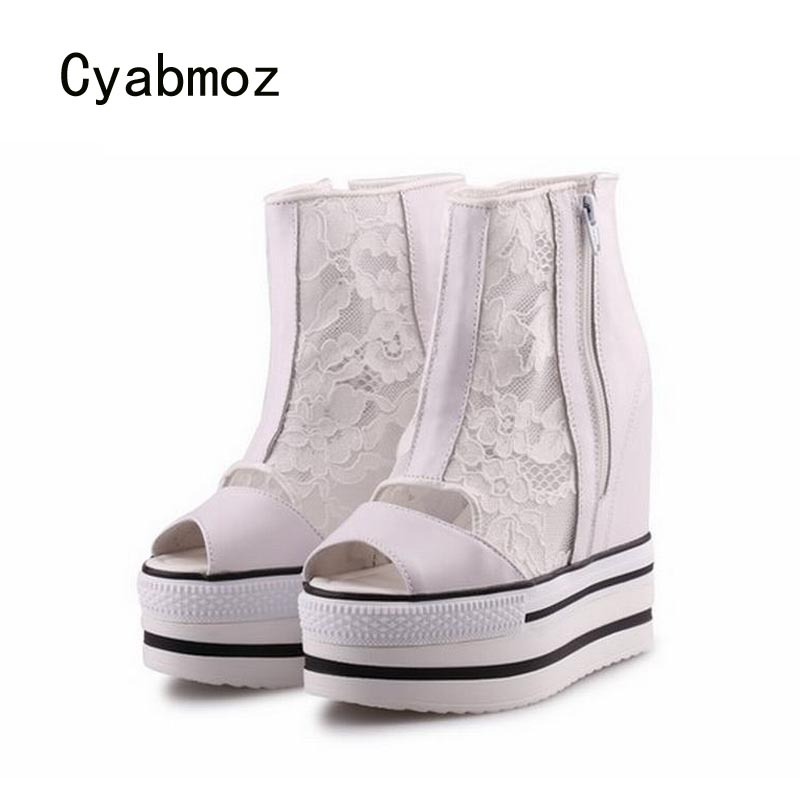Cyabmoz Summer Platform Wedge High heels Women Shoes Woman Thick bottom Lace Breathable Party Shoes Zapatos Mujer Tenis Feminino цена и фото