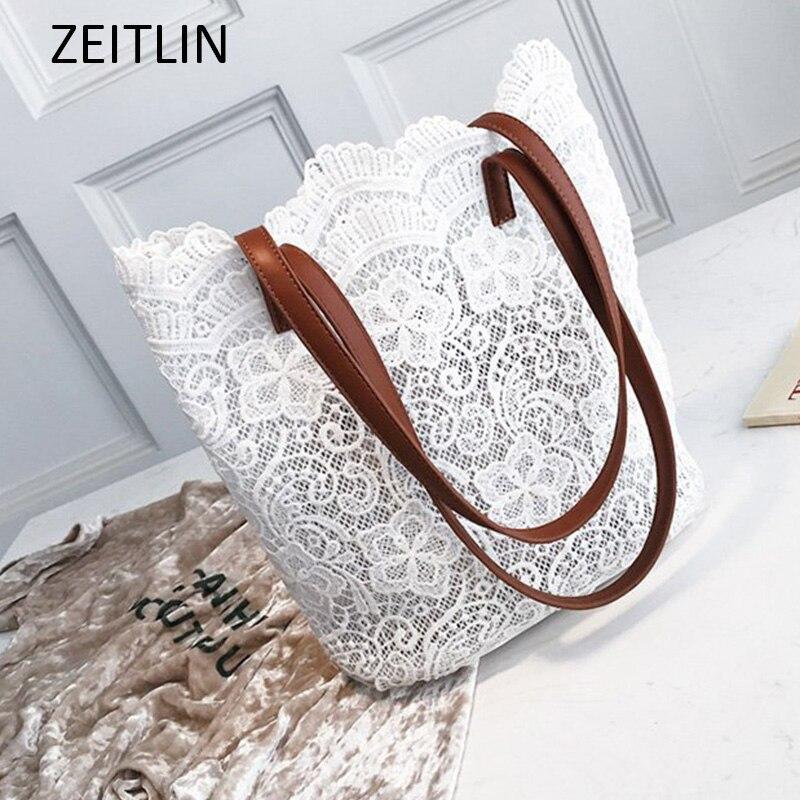 d7f28e81b0b0 2 Set Women Large Totes Female Lace Handbag Elegant Leisure Travel  Versatile Shoulder Bag borsa Sac 2018 New Fashion S398