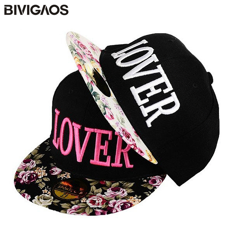 New Arrival 2016 Fashion Girls Women's Snapbacks Lover Letters Embroidery Cap Hip-hop Hats Broken Flower Baseball Caps For Women
