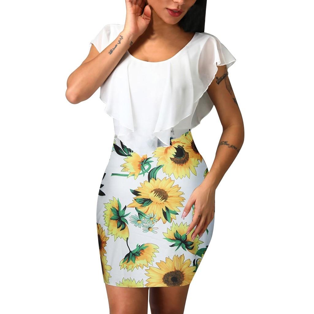HTB1zFtjV6TpK1RjSZKPq6y3UpXaJ Sexy Womens Sunflower Summer Bodycon Dress Sleeveless Printed Holiday Party Short Mini Dresses Ruffle Summer Dress 2019 Vestido