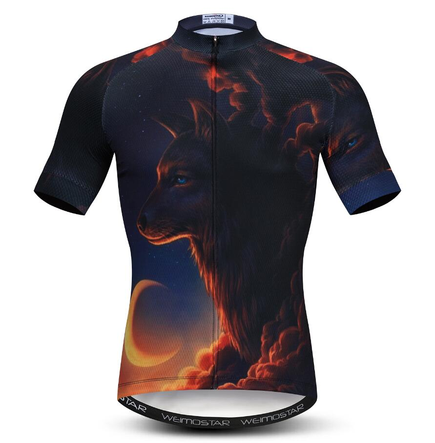 Night Wolf Bike Bicycle Jersey Tops Short Sleeve Men/'s Cycling Shirts S-5XL