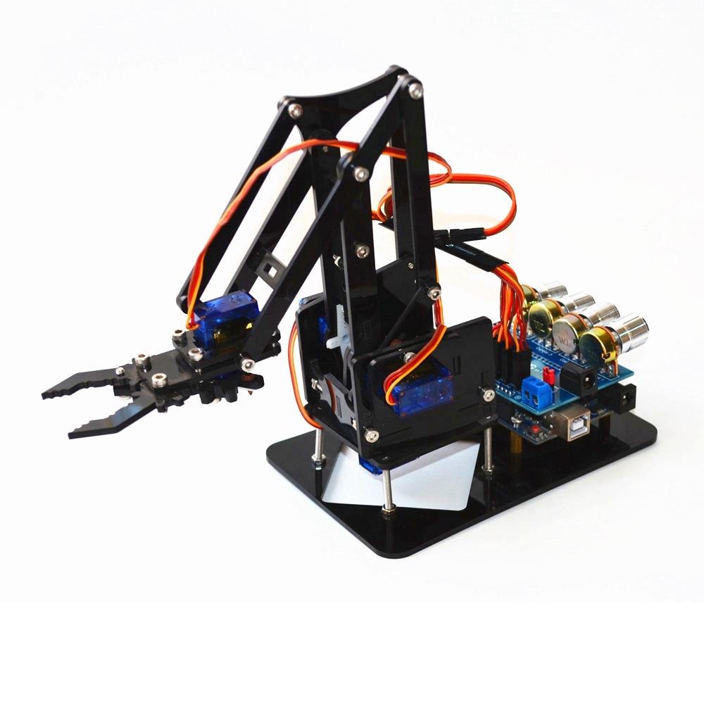Diy robô de acrílico braço robô garra arduino kit 4dof brinquedos manipulador garra mecânica diy snam1900