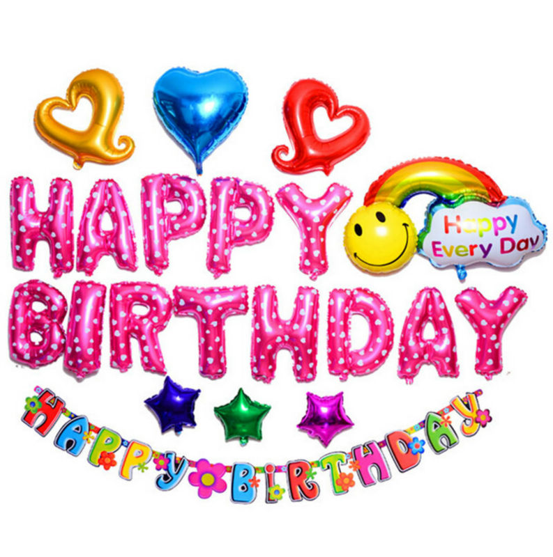 Buy photo set balloon happy birthday for Balloon banner decoration