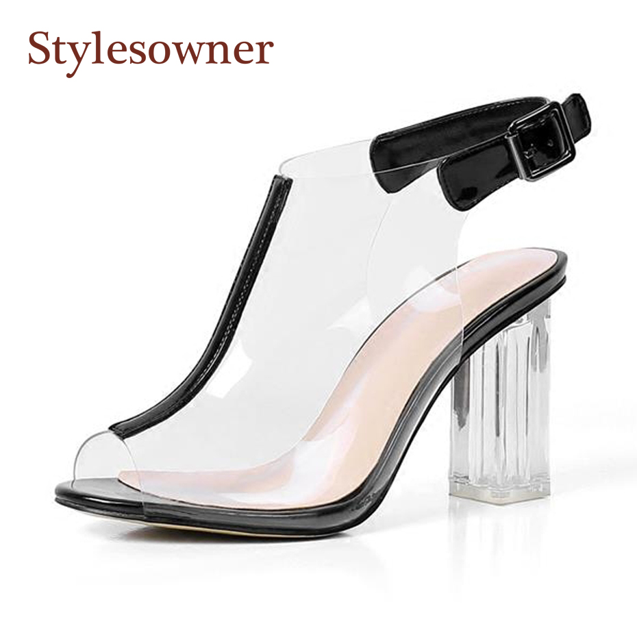 10654f27a69ba Stylesowner fashion transparent pvc peep toe women gladiator shoes crystal  chunky high heel back buckle strap