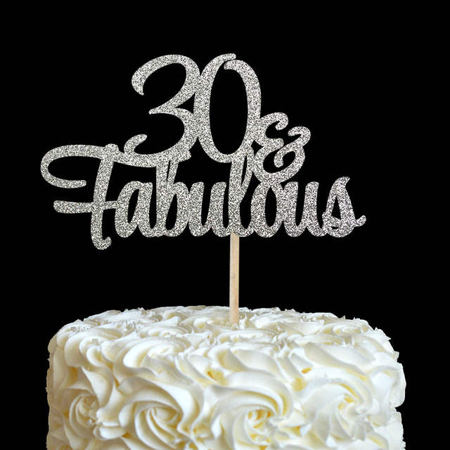 Online Shop 30 Fabulous Cake Topper Glitter 30th Birthday Decorations Thirty Anniversary Party Decor Decoration Supplies