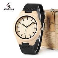 BOBO BIRD WF21 érable bois montres hommes conception marque de luxe en cuir véritable avec fil rouge Quartz montre pour hommes dans une boîte-cadeau