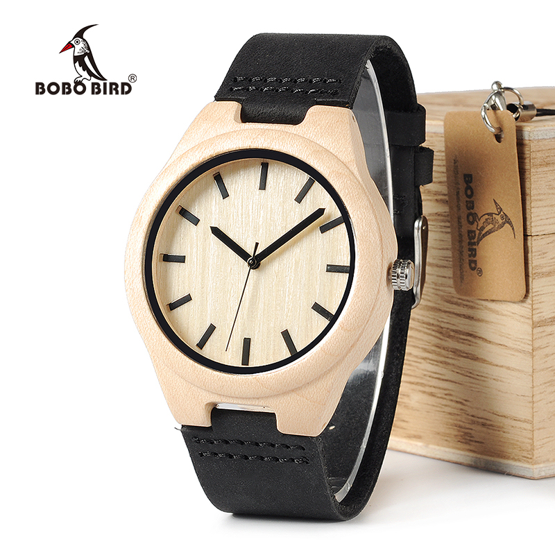 BOBO BIRD WF21 Maple Wood Watches Mens Design Brand Luxury Real Leather with Red Thread Quartz Watch for Men in Gift Box bobo bird men s ebony wood design watches with real leather quartz watch for men brand luxury wooden bamboo wrist watch