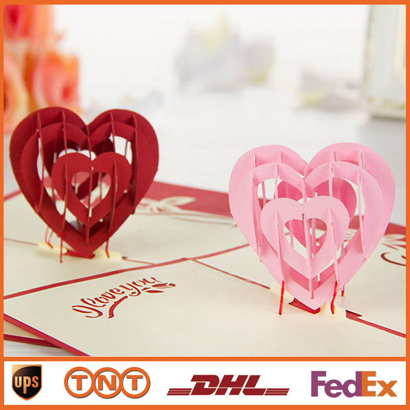 Pop UP Cards I Love You Pink And Red Heart Design Handmade Kirigami Origami 3D Greeting With Envelope Gift Card HQ1240 On Aliexpress