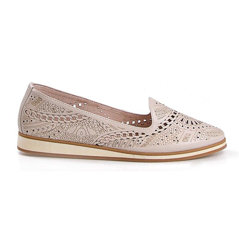 Véritable Bout Rond Confortables Plate En Semelle Isnom Chaussures Cuir Femme Apricot Découpe Femmes Dames Appartements Sculpté rBWQdoeCx