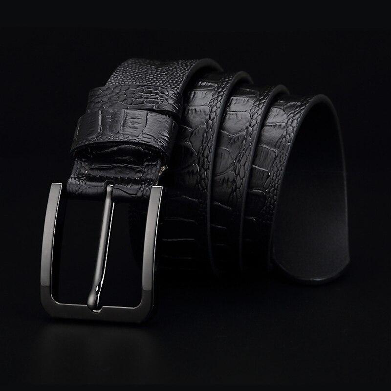 Image 3 - GFOHUO Luxury Alligator Grain Men Belt Pin Buckle Genuine leather Belt For men Vintage Male For men Belt Cinto machoMens Belts   -