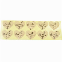 100pcs/lot Handwritten 'Thank You' Heart-shaped Sealing Sticker Kraft Paper Sticker For Handmade Gift Decoration Label Stickers 90pcs pack for you candy color sealing sticker stationery gift bakery stickers cookies label supply