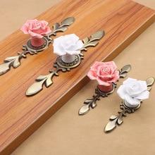 Ceramic Flower Rose Drawer Knobs Rural Cabinet Cupboard handles 40mm diameter 37mm height Fashion Furniture Handles Hardware