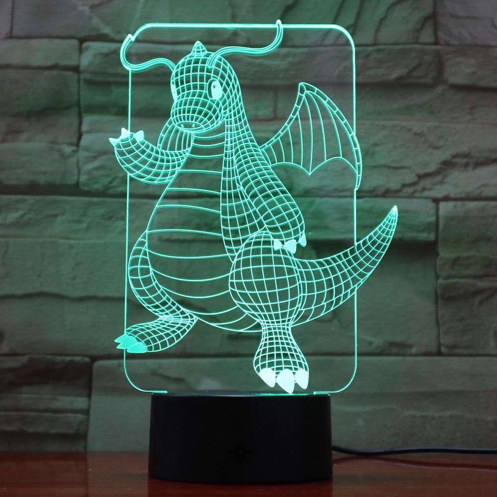 Pokemon Go Dragonite Figure LED Nightlight for Children Room Decor Battery Night Light Holiday Present Bedroom Lamp
