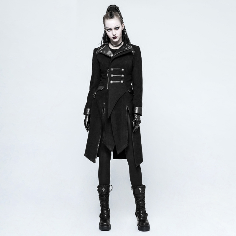 Steampunk Women Worsted Long Coat Punk Military Style Black Stand Collar Handsome Bodycon Slim Jacket Overcoats