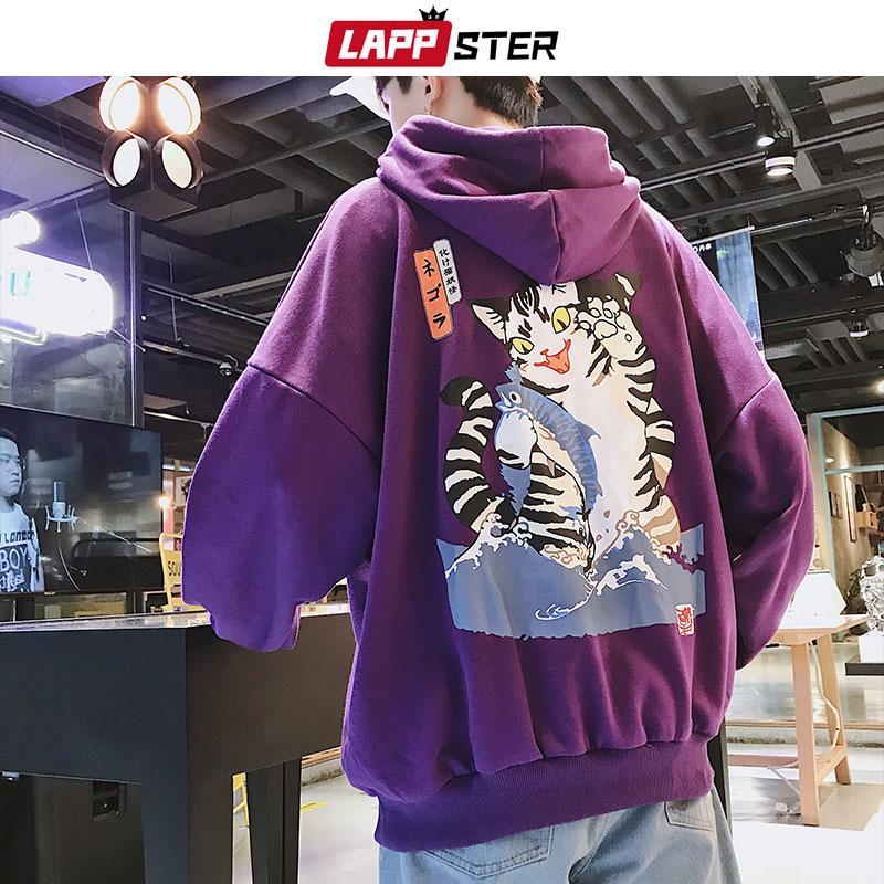 LAPPSTER Men Streetwear Casual Cat Hooded Hoodies 2020 Mens Hip Hop Harajuku Sweatshirts Male Korean Fashions Black Hoodie INS