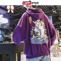 LAPPSTER Men Streetwear Funny Cat Hooded Hoodies 2019 Mens Hip Hop Harajuku Sweatshirts Male Korean Fashions Black Hoodie INS