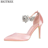 BIGTREE new Women Pumps Rhinestones High heeled Shoes Thin Pink High Heel Shoes Hollow Pointed Stiletto Elegant Wedding shoes