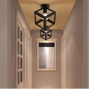 Image 5 - מודרני יצוק ברזל E27 led תקרת מנורות שחור תקרת אורות סלון מטבח חדר שינה מחקר מעבר מסעדת קפה מלון
