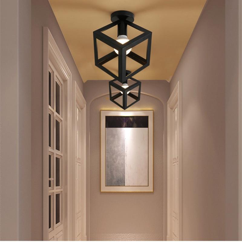 Image 5 - Современные кованые E27 светодиодные потолочные светильники, черные потолочные светильники для кухни, гостиной, спальни, учебы, прохода, ресторана, кафе, отеляПотолочные лампы    АлиЭкспресс