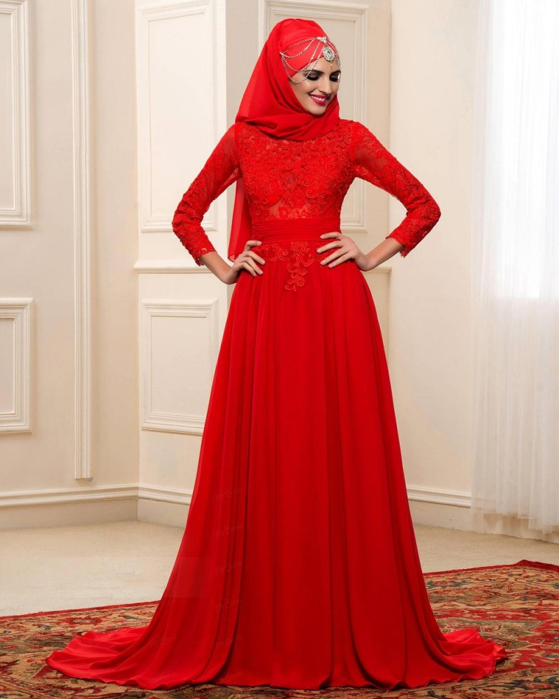 Arabic Muslim A Line Wedding Dresses Red Colour Long Sleeve High ...