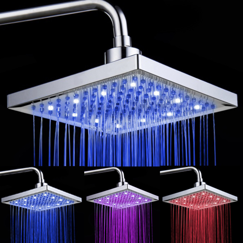 Temperature Sensor Led Shower Head RGB Light Led Rainfall Shower Square ABS Chrome Plated 3 Color Shower Sprinkle for Bathroom shending ld8008 a9 temperature sensor rgb light changing 15 led handheld shower head silver
