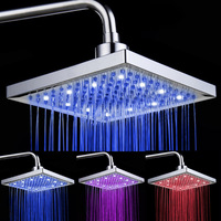 Temperature Sensor Led Shower Head RGB Light Led Rainfall Shower Square ABS Chrome Plated 3 Color Shower Sprinkle for Bathroom