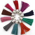 50pcs mix colors leather tassel,tassels for jewelry making,silver plated caps,handmade long tassels,5.5cm length-D1300