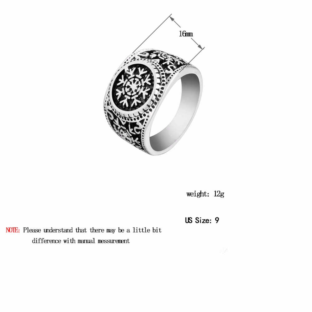 Kinitial Vintage Viking Rune Finger Ring Nordic Runes Symbol Round Rings For Women Men Gothic Amulet Jewelry Gift Wholesale