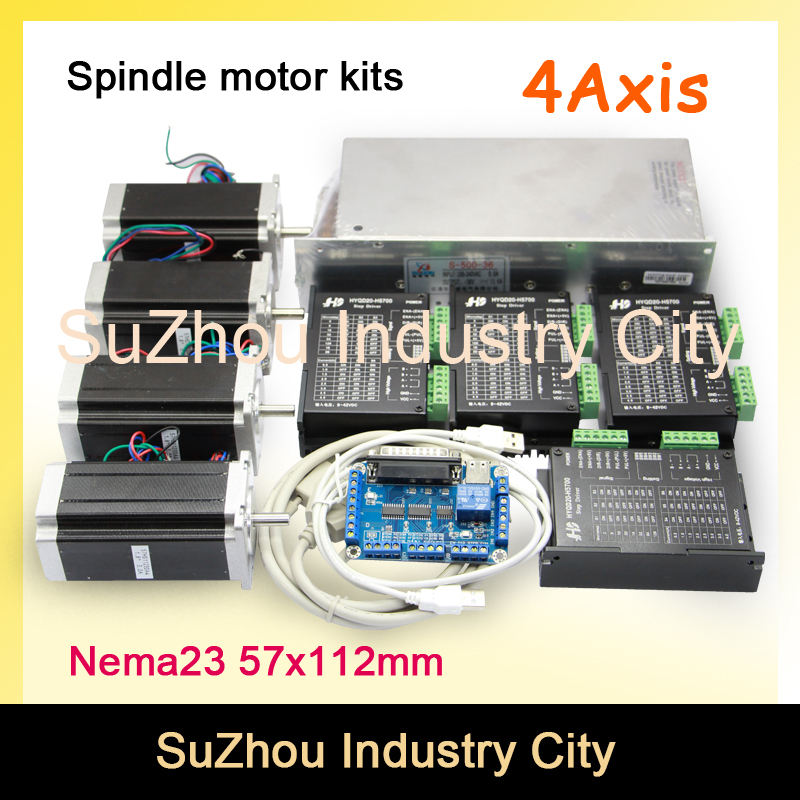 цена на 4Axis CNC stepper motor control kits name23 stepping motor + Driver 9-42VDC 4A+Power supply switch 500w 36v+5axis breakout board