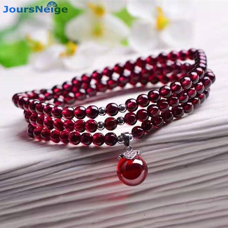 Al por mayor pulseras granate natural vino rojo del grano transportador colgante suerte Crystal regalo para mujeres multilayer joyería