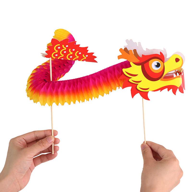 Papel de arte dragão chinês tumbling magia tecido popular crianças DIY brinquedos de natal Quente