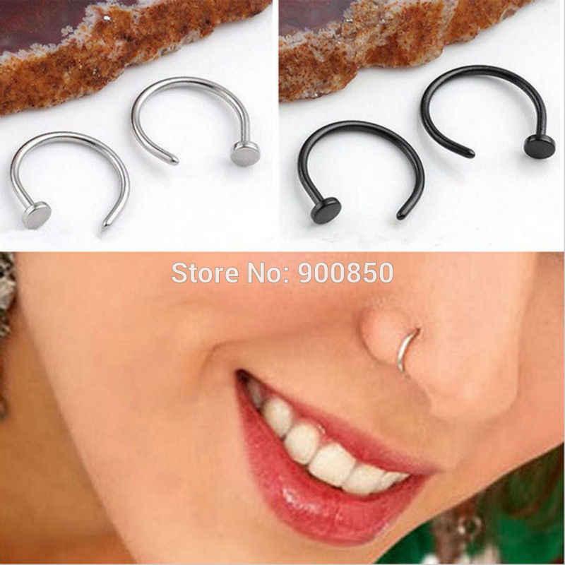 1PC נשים נירוסטה נחירי האף חישוק Stud טבעת קליפ על האף גוף תכשיטי מזויף פירסינג תכשיטי 6 8 10 12mm